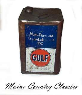 Vintage GULF OIL 5 GALLON GEAR LUBRICANT CAN Square Multi Purpose 90