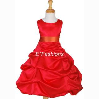 RED ORANGE SWEET 16 FLOWER GIRL DRESS 4 6 8 10 12 14 16