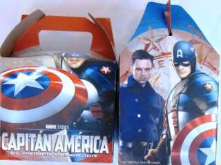 NEW* CAPITAN AMERICA * 12 party FAVOR treat BOXES