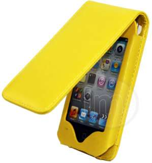 AIO YELLOW FLIP LEATHER CASE POUCH FOR IPOD TOUCH 4 4G