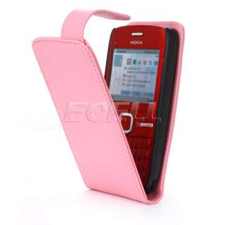Ecell Value Range   Luxury Leather Flip Case Cover for Nokia C3   Pink