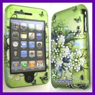 3G 3GS   Hawaiian Flower Spot Crystal Diamond Bling Cover Case
