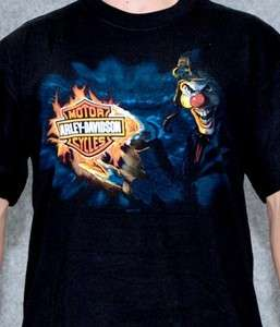 Harley Davidson Mens Clown B&S Logo Black Short Sleeve Biker T Shirt