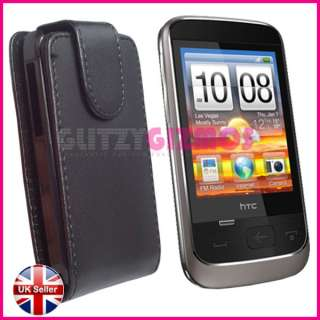 BLACK LEATHER FLIP POUCH CASE COVER FOR HTC SMART F3188