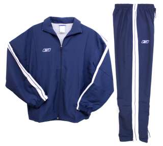 Reebok Mens Navy Blue & White Tracksuit Warmup Jacket & Pants Set