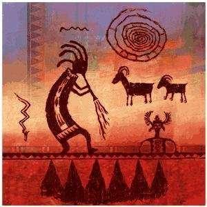 Kokopelli Petroglyph Occasions Coaster Set of 4: Kitchen