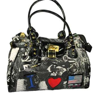 Ladies Anna Smith Leather Graffiti Print Weekend Bag |