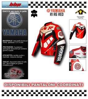 Giacca giubbotto giubbino pelle moto Yamaha R1 R6 rosso