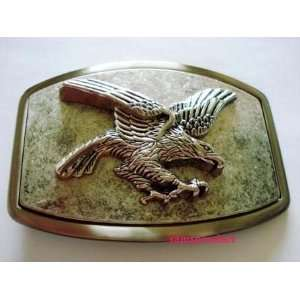 American Flying Eagle Pewter Color Square Belt Buckle