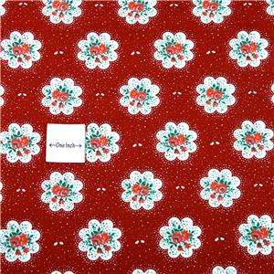 Springs Cotton Fabric Retro Red & White Floral BTY