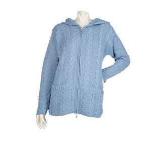 Aran Craft Merino Wool Hooded Zip Front Cardigan   QVC