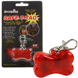 Flashing dog Safe T Tag Bone   ID Tags   Collars, Harnesses & Leashes