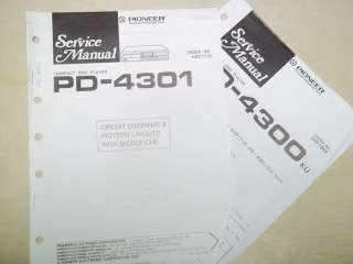 Pioneer Service Manual~PD 4301 CD Player~Original~Repair