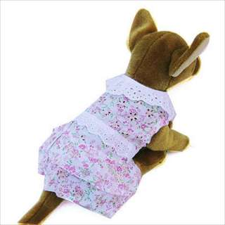 Pink Lace Flower dress pet dog clothes Chihuahua