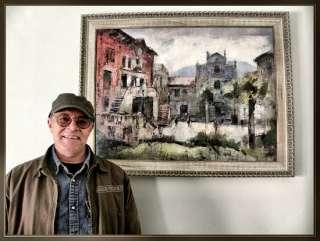 Artista Pintor ERNEST DESCALS junto a uno de sus pinturas ganadoras de
