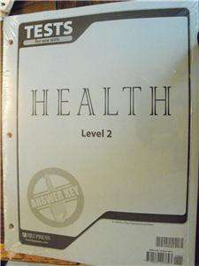 BOB JONE,BJU,HEALTH TESTS ANSWER KEY FOR LEVEL 2, BOOKS,HOMESCHOOLING