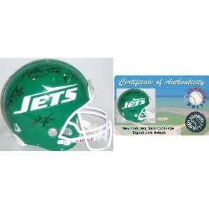 NY Jets Sack Exchange Signed Jets T/B Helmet: Sports