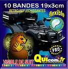 10 bandes reflechissante adhesive 19x3cm blanche top case moto quad