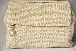 DOLCE & GABBANA *MISS SICILY* Straw/Raffia+Leather Flap Shoulder Bag