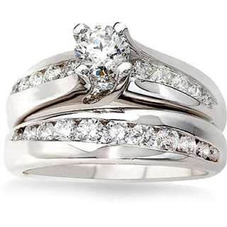 Certified Diamond Engagement and Wedding Ring Set in 14K White Gold