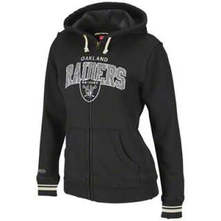 Oakland Raiders Womens Mitchell & Ness Black Arch Full Zip Hooded