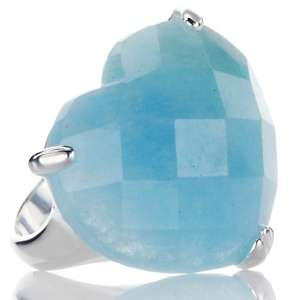 Faceted Milky Aquamarine Sterling Silver Heart Ring