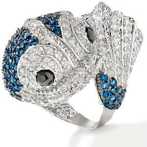 Noir Black and Clear CZ and Blue Stone Koi Fish Ring
