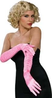 Stretch Satin Pink Elbow Gloves   Costume Accessories   Gloves