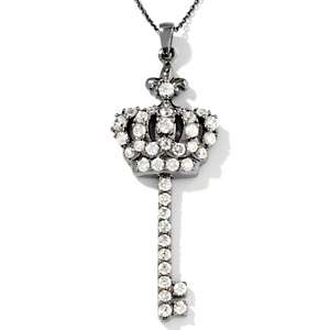 45ct CZ Sterling Silver Crown Key Pendant with 18 Chain