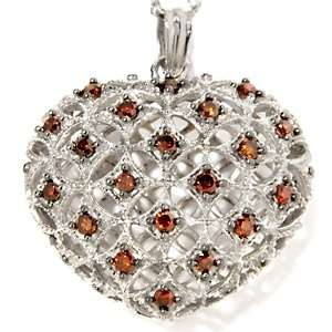 50ct Red Diamond Sterling Silver Puffed Heart Pendant with Rope Link