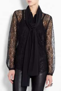 By Malene Birger  Black Lova Lace Blouse With Silk Scarf by By Malene