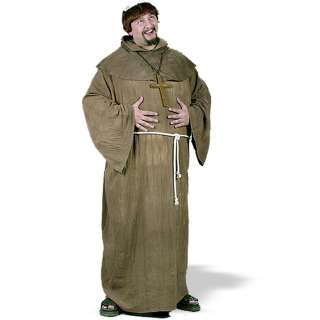 Medieval Monk Plus Adult Costume   Includes Long Brown robe, hooded