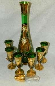 Gold Overlay High Enamel Decanter + 6 Liquor Glasses Bohemian
