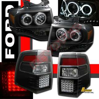 FORD EXPEDITION CCFL HALO PROJECTOR HEADLIGHTS & LED TAIL LIGHTS BLACK