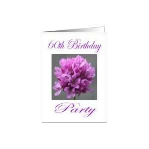 Happy 60th Birthday Party Invitation Purple Flower Card