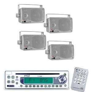 Pyle Marine Radio Receiver and Speaker Package   PLCD9MR AM/FM