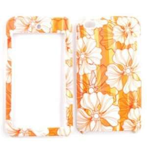 Apple iPod Touch 4 White Flowers on Orange Hard Case,Cover