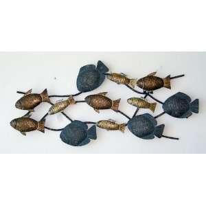 School of Fish Aquarium Wall Decor Sculpture Art