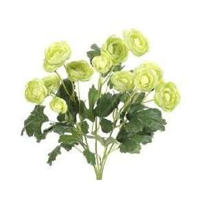 13 Silk Mini Ranunculus Flower Bush  Green (case of 12)
