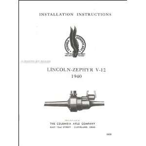 Columbia Axle Installation Manual and Parts List Lincoln Books