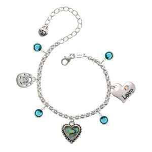 with Beaded Border Love & Luck Charm Bracelet with Blue  Jewelry