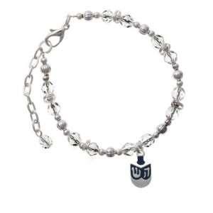 Blue Dreidl Clear Czech Glass Beaded Charm Bracelet [Jewelry] Jewelry