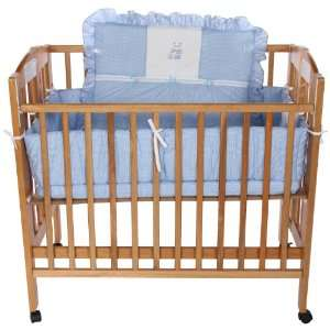 Baby Doll Bedding Gingham with Bear Applique Port a Crib