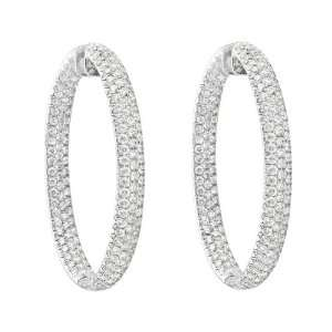 Collection Large Oval Pavé Diamond Hoop Earrings Jewelry