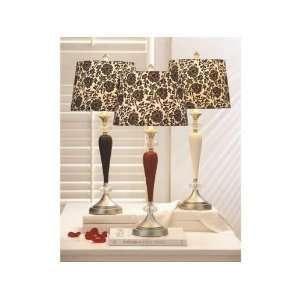 Set of 2 Black & White Floral Damask Design Table Lamps