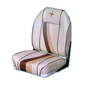 Premium High Back Boat Seat With Plastic Frame (Color Sand/Chestnut