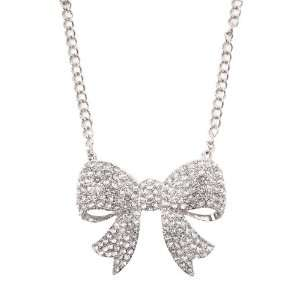 Clear Large Rhinestone Bow Necklace Jewelry