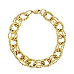 Womens Stainless Steel Link Bracelet with Gold Plating, 8.25