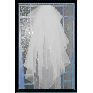 tier Oval Solloped Bugle Embroidery Wedding Bridal Veil Toys & Games