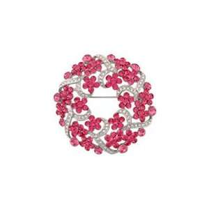 And White Swarovski Crystal Wreath Brooch Based On A Vintage Design